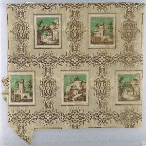 a) is a small fragment; b) gives one and one-half widths of drop-repeating design; enframed architectural scenes of Italianate character, with green sky, against plain ground divided into larger rectangles by bands of scrolled framework. Printed in browns, white and green on neutral light brown ground.