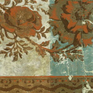 Vertical stripes about 4 1/2 wide, alternating apple-green and white, over-printed with close-set pattern of foliate rinceaux in two shades of green. Horizontal overprinted in flock, at top, of large-scale flowers and foliage suggestive of poppies. Above this, solid flock border of serpentine stripes and, over enclosed bands, figures composed of dots. Printed in greens and cream, with orange, brown, and green flock.