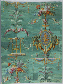 Repeating pattern developed on a vertical axis: a medallion flanked by female gaines, surmounted by a bouquet of flowers with birds and butterflies; below medallion a tripod from which grow sprays of flowers and foliage. Vertical rectangle.