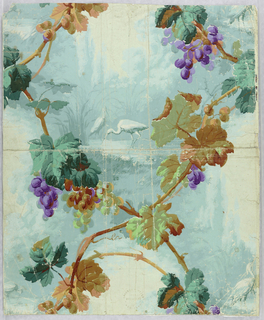 Intertwined grape vine enclosing vignettes of wading birds in marsh. Printed in greens, browns, purples, and aqua on pale green ground.