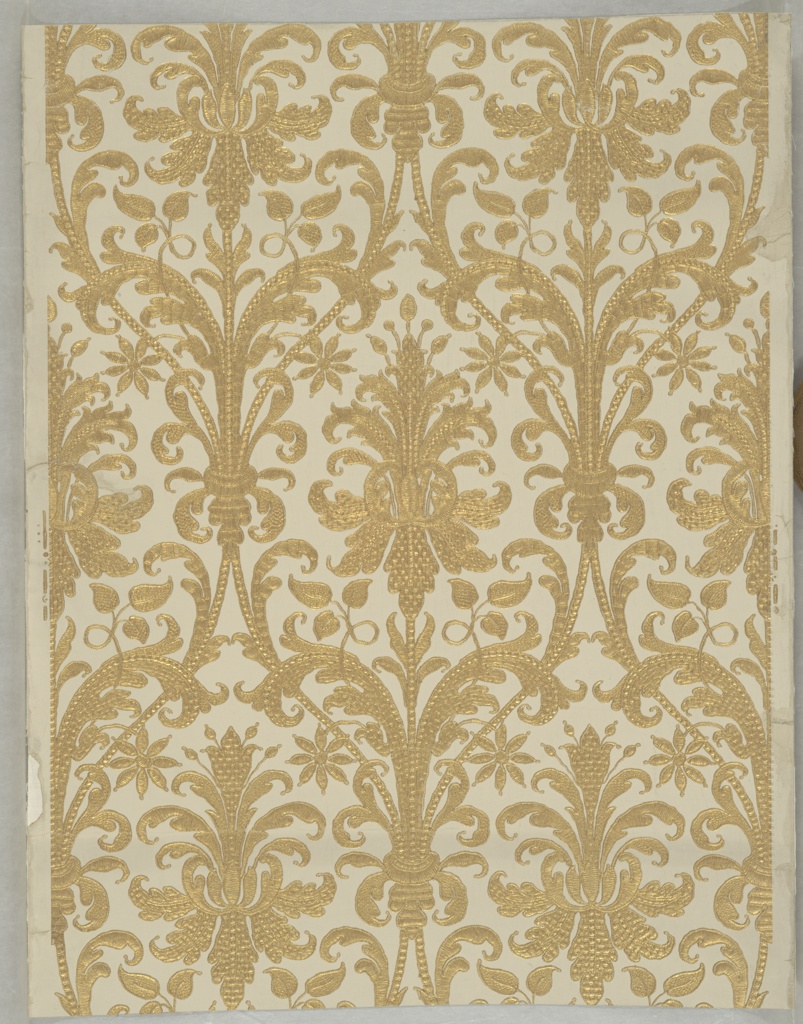 Design inspired by a 17th century Genoese cut voided velvet. Slender acanthus leaves in ogival bands. Medallions contain axial motifs in stylized form. The design is embossed to simulate a variety of embroidery stitches and gives the appearance of being worked in gold thread, printed in gold on ivory field.