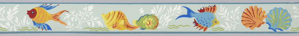 Fish and shells printed in yellow, blue, red and white. Seaweed and green wave motif on light blue ground.
