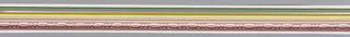Bead-and-reel in mauves over bands of yellow/silver/green on pink ground. Matching ready-pasted border.