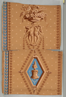 """a) Two putti holding up vase of flowers. Shades of brown on brown. To left is vertical stripe of brown leaves on blue; b) fragment of same paper as """"a"""". On same ground as above, a diamond-shaped frame with sacrificial altar; c,d) duplicates of """"b""""."""