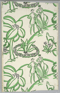 Against a white ground, stylized figures in riding costumes, horse, and dog alternate with large plant forms with spear-shaped leaves. Printed in green and black. Half-drop repeat. Printed in margin: Andre Groult, Paris.
