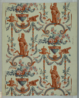"This wallpaper is an exact reproduction of an old French paper. Design inspired from those of Reveillon. Reproduced for Nancy McClelland. The original paper was found in the old house of Joseph Lord, great grandfather of Katherine Ludington in Old Lyme, CT. Design is of ""Minerva"" with shield and mace with a serpent at her feet. At either end  are festooned columns. One has a cannon on top and the other, an amoured vest. Above these motifs is an urn filled with flowers. Printed in blue, henna and ivory on blue field."