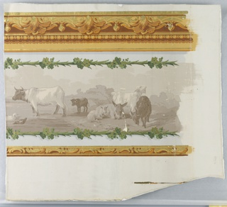"""a) Horizontal rectangle. In grisaille, a series of animals is arranged horizontally: cows, donkeys, goats, lambs, dog and geese. Yellow ocher scrolling architectural bands along top and bottom; b) Small piece having gold where yellow is used in """"a""""."""