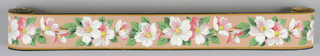 Pink and white flowers with green leaves on terra cotta ground with banding of brown and black at either edge.