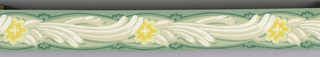 Stylized yellow flower on beige/white stalk and leaves on light green ground with dark green design.