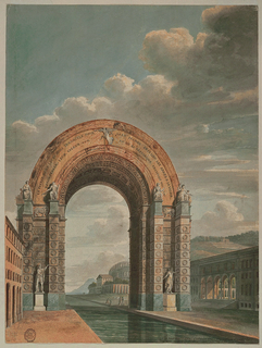 View of an arch spanning a canal.  The facade of a house is shown in the left foreground, a public building with arcades in the right foreground, a classical theater in the precinct of a villa on a hill in the distance, to the right.  The supports of the arch are decorated with statues, reliefs, and inscriptions in wreaths.  Ornaments, only partly shown, and inscriptions, those in the arch's main band being legible.