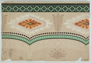 Frieze on beige ground, diamonds of yellow-gold-tan shaded; foliage in white scrollwork diamond frame.  Green and black bandings, beading and bunches of flowers in brown, top of broad arches, paler beige leather like leaves.  H# 226