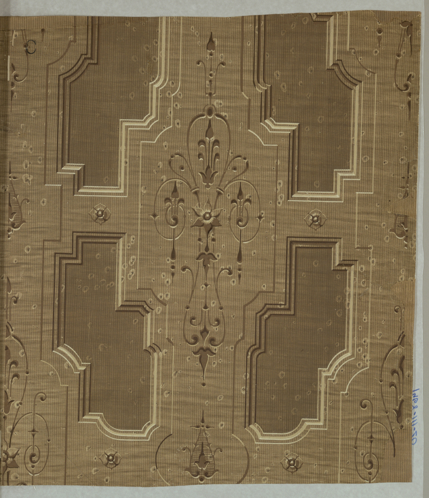Imitation wooden inset panels with shallow carvings of thin scrolls, stylized flowers. Printed in shades of brown and white.