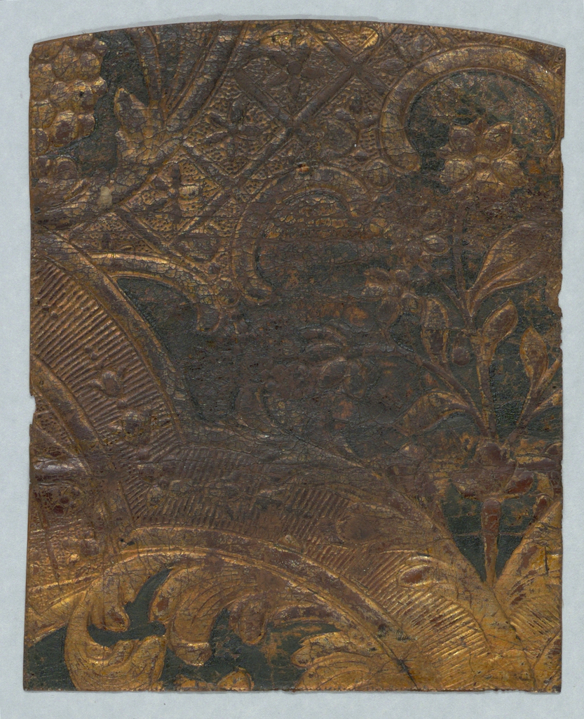 With green field, flowers and diapered scrollwork.