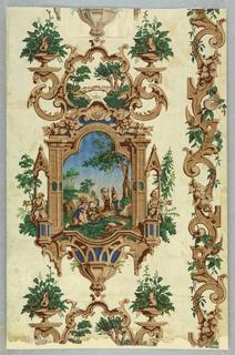 Sidewall, Gothic Revival design with landscape vignette