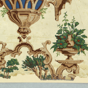 "On ground of polished white, predominantly architectural pattern with gothic details, in brown, beiges, brilliant blues, green, touches of red. Fanciful architectural enframement, topped by two vases of flowers, flanked by two statues on pedestals under steep ""gothic"" roofs, between which country scene with four peasant figures visible. Above, enframed in leafy architectural ornament, wooden bridge over tree-lined stream. At edge of paper, vertical banding of strapwork with fruit garland, through which vine with red flowers is entwined."