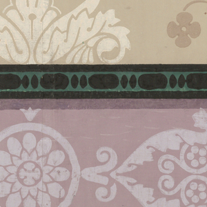 Bottom border for wall panel. Base of column between floral sprigs, alternating with anthemion. Printed in tan, mauve, green and black on tan ground.  H# 315A