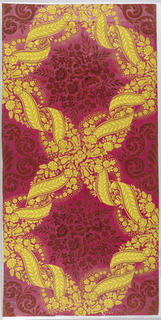 Large-scale pattern suggestive of brocade; framework composed of scrolled yellow ribbon, enclosing bouquet of flowers in red flock. Glossy red satin ground. Vertical rectangle printed on joined sheets of paper.