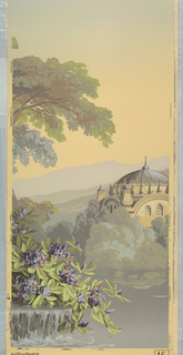 Panel No. 16 depicting part of a fountain waterfall, flowers, a lake, foliage, mosque-inspired building with dome center, mountains and sky.  Same image as 1975-77-16.
