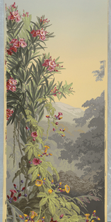 Panel No. 14 depicting a flowering tree, foliage, vines, trees, mountains and sky.  Same image as 1975-77-18.