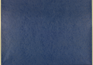 Swirled or mottled design with texture effect in blue of rough, pitted surface.
