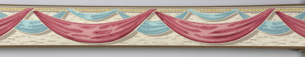 Blue and red swags suspended from rope motif on beige ground with brown and white markings.