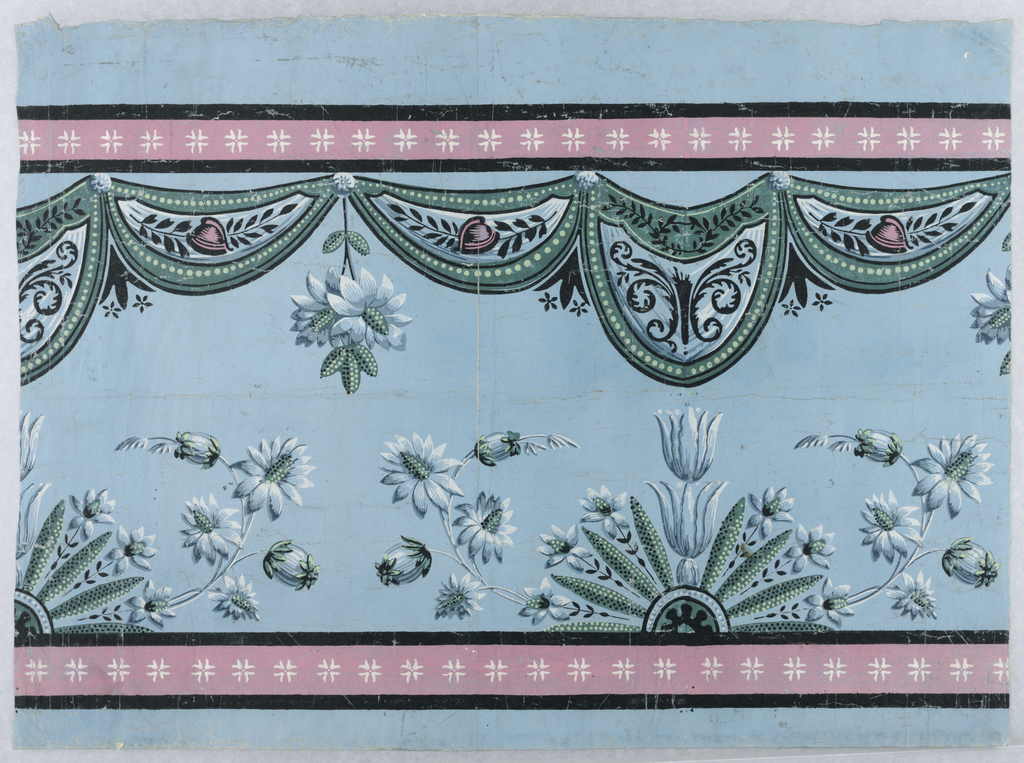 Horizontal rectangle. Pink bands, with white flower sprigs, along upper and lower edges. Green and blue drapery swags suspended from upper pink band. These overhang delicate blue and green flowers. All on blue ground.