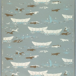 Children's paper with white, turquoise, and brown covered wagons, horses, and bulls on a light blue ground.