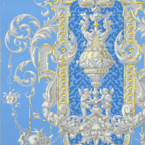 Gray and yellow scrollwork with vases with jewelled decoration. Twisting leaves and ropes of flowers and fruit. Printed on glazed blue ground.