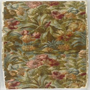 Full width, giving one and one-half repeats of a cluster of various flowers: iris, peony, rose; with water lilies and aquatic grasses about base. Over-printed with regularly spaced lines of dotting, to reduce sharpness of pattern.