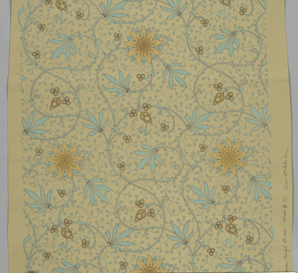Full width, giving slightly more than one repeat of slender vine pattern of conventionalized passion-flowers (roses), against secondary all-over pattern of foliation. Paper embossed with a pebbled figure. Printed in blue, green and tans, on grey-violet ground.