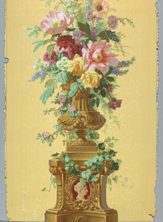 Urn of flowers sitting on vine-covered pedestal. Burgundy cameo in base. Printed on wood grain ground.