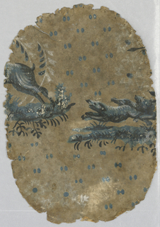 A group of three dogs is following on the heels of a deer. The three dogs and the deer are each on there own landscape plateau. The background is printed with pairs of dots, possibly simulating hoof prints. Printed in shades of blue, white and black on a discolored possibly tan ground. Paper is small oval shape.