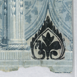 Repeating motif of a column, stop-fluted on bottom third. A drapery hangs behind row of columns. A foliate swag suspends from capitals. Anthemion or palmette motif on the drapery and below.  Band of dentilling at top edge and across column base. Printed in shades of blue, black and white on a pale blue-gray ground.