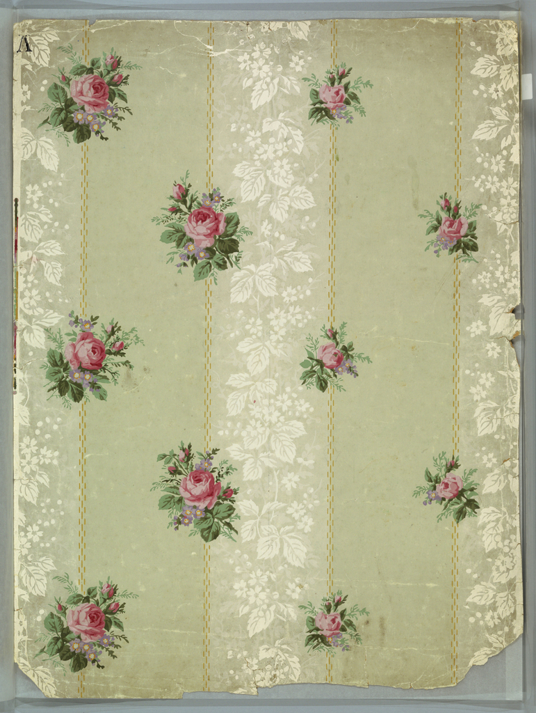 On white, gray with vertical bandings of flowers, leaves in reserved white; vertical broken lines of yellow with sprigs of pink roses.