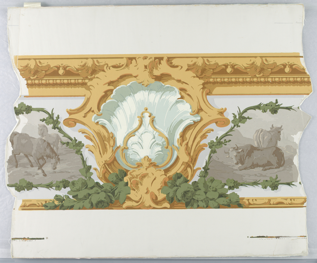 Rococo shell and scroll motif, in green and yellow, at center. This interrupts a sepia animal frieze, portions of which can be seen to left and to right. To be used with 1955-12-3 in outlining panels.