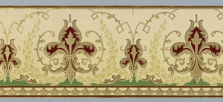 Large-scale fleur-de-lis with surround of laurel wreath, alternating with small fleur-de-lis. Printed in gold, red, green and tan on off-white ground.