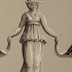 Two repeats of design of caryatids on round pedestals holding up the lower ends of lambrequins. The fabric panel is held up by a wavy rod supported by the female figures heads. Across top, simulated molding of interlaced ogives. Printed in grays, violets and black.