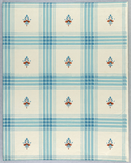 On glazed white ground, blue plaid with small red and blue flower-like motifs.