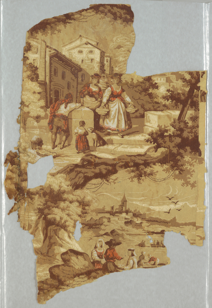 Vignettes of peasants on river bank and in village. Printed in browns, orange, and white on tan ground.