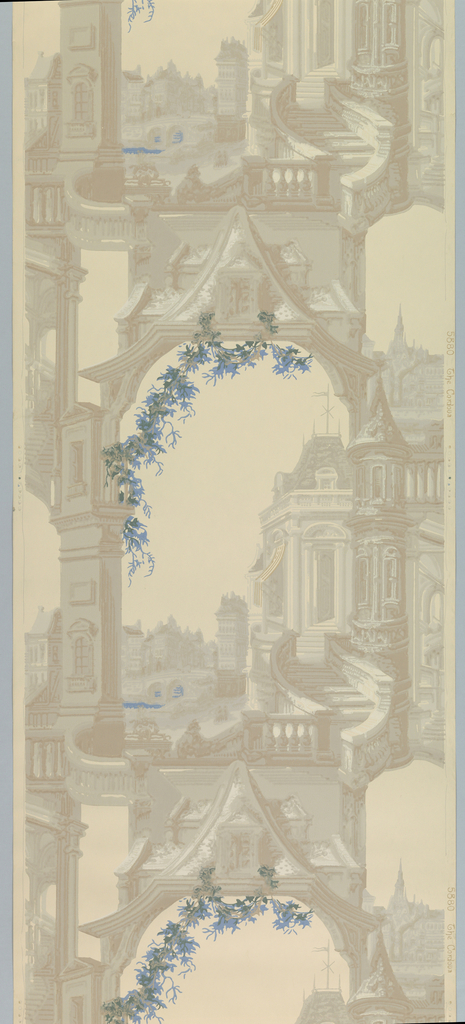 Architectural framework with blue foliate swags and highlights.