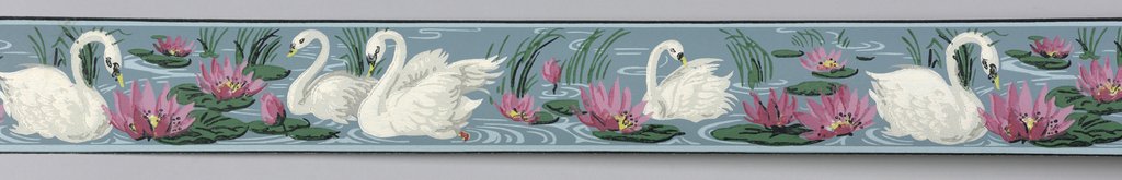 White and gray swans swimming amid water lilies with pink flowers on blue ground with blue and black banding at either edge.