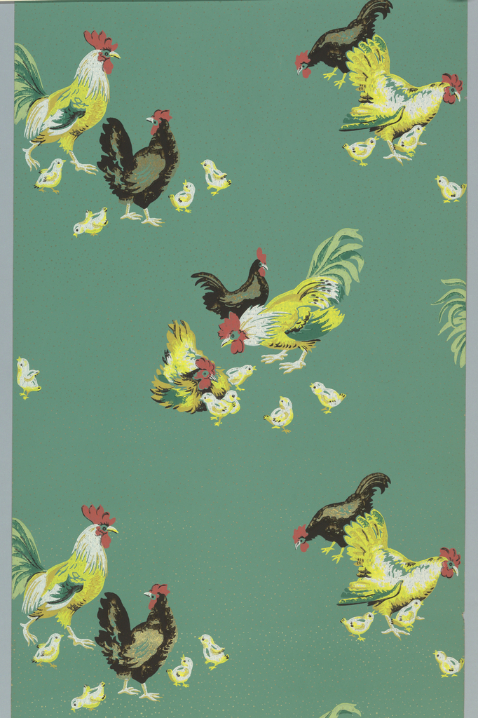 Roosters and chickens on gold-speckled green ground. Printed in green, yellow, black, red, white and metallic gold. Paper has no selvedge.
