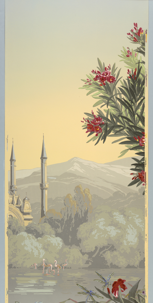 Panel No. 15 depicting three dragonflies, foliage, a lake, flamingos, trees, part of a building, two minaret style towers, mountains and sky.  Same image as 1975-77-17.