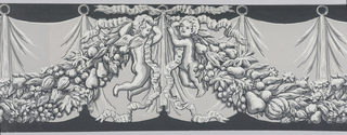 Border consists of simulated drapery in background, with fruit and foliage swag held by putti in front. There is one putto at either end of the swag. Printed in shades of gray on black ground.