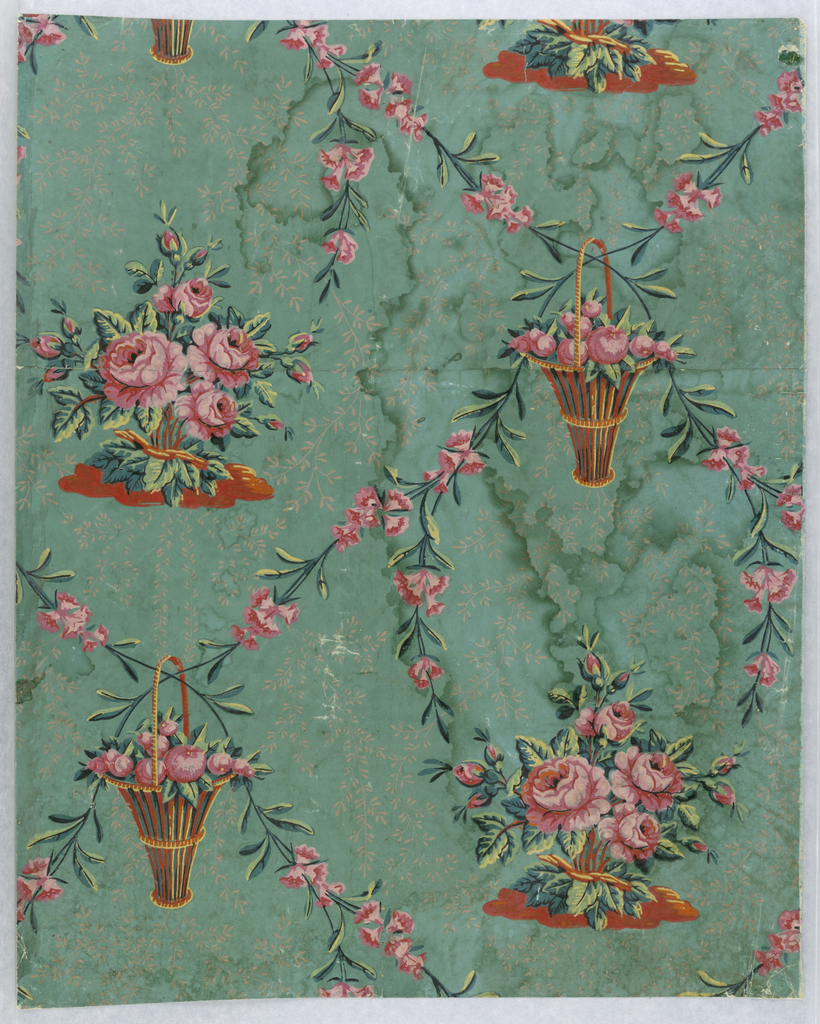 Vertical rectangle. Repeating design of bunch of pink roses and baskets of apples, with intertwining vine of pink jasmine, on green field.