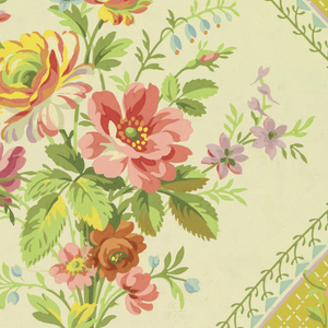 Full width giving nearly two repeats of a neo-Directoire design. Concave lozenges enclosing white reserves set with bouquets, and overhung with floral swags. Paper embossed with transverse ribbing.