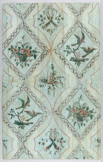 Vertical rectangle. Drop-repeating design of lozenges, in alternating files, filled with flower basket, macaws; steeple and floral arabesque.