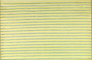 Design of alternating horizontal yellow and green pinstripes on off-white ground; stripes are irregular with slight bleeding effect as if printed onto damp fabric.