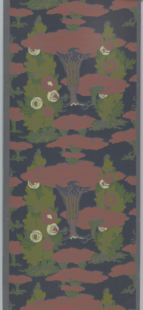 Art Nouveau inspired design with stylized roses and trees. Printed in red, greens, yellow and blue on dark blue background.