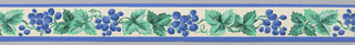 Grape leaves and blue grape clusters on white ground. Blue banding at either edge.